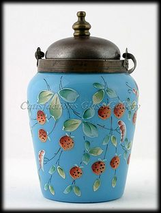 Blue Opaline Tea Caddy, Antique Enameled Glass with Strawberries.