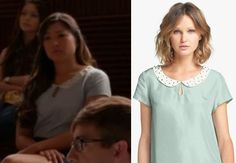 Tina Cohen-Chang (Jenna Ushkowitz) wears this embellished collar and teardrop keyhole short-sleeve silk blouse in this week's episode of Gle...