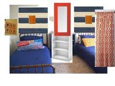 Orange and blue boys room