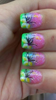 Awesome Nail Art: Rainbow Flowers