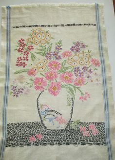 Vintage Hand Embroidered Cotton Towel- Vase with Flowers - Folk Art  -  upcycle.