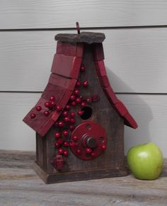 ~ Red Roof & Berries Bird House ~ I love the perch....