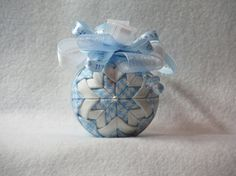 Quilted no sew fabric Baby Boy ornament ball  by KCFabricOrnaments, $15.00