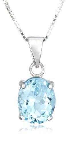 "Sterling Silver Blue Topaz Pendant, 18"""