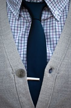 navy blue tie, checkered shirt, and cardigan #menswear