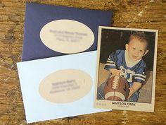 Cool birthday invites for a sports themed party - Trading Card invites!