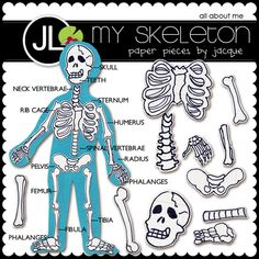 Skeleton digital scrapbook kit. Can be printed and made into magnets.
