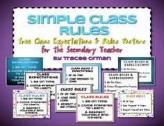 FREE download: Simple Class Rules for the Secondary Teacher