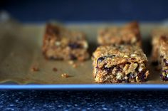 Thick, chewy granola bars from Smitten Kitchen. You can choose different ingredients: we added chocolate, dried cherries, and cashews.