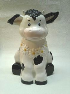 Ceramic Cow Cookie Jar in White with Black Spots | GreatDesign ... artfire.com