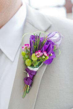 cute purple and green boutineer
