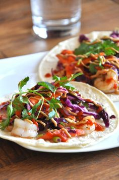 Thai Tacos with Ginger Slaw and Peanut Sauce
