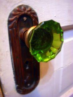 Old green glass doorknob