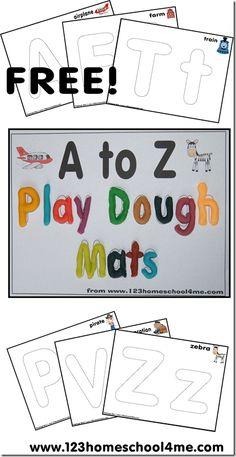 Playdough Alphabet Mats from A to Z (from 123 Homeschool 4 Me)