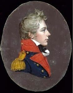English School (circa 1810) -  A junior Officer of the Royal Regiment of Artillery, profile to the right, wearing blue coat with red facings and gold epaulette. Rectangular papier-mâché frame, ormolu mount with foliate decoration, the reverse with trade label of Salter Jeweller, Silversmith.