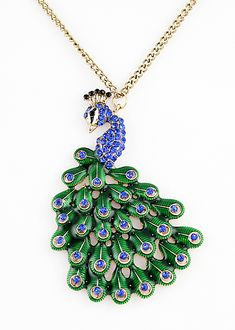 Blue Gemstone Gold Peacock Necklace
