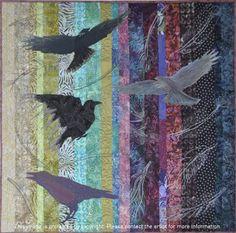Ravens by Sharon Calverley. © International Quilt Convention Africa 2013 quilt challenge.  Strip piecing, applique, thread sketching, freehand quilting