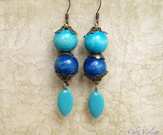 www.pinterest.com/cocoflower #handmade #craft #button #diy #etsy #gifts #beauty #fashion #wood #earring #blue