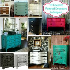 10 Favorite Painted Dressers: Looks to Inspire...top left one is my favorite (white and wood color)