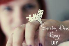 stackable rings, crafti, plastic ring, dink ring, shrink plastic, shrinki dink, jewelri, diy, kid