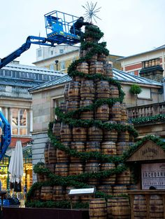 Covent Garden Jack Daniel's Christmas TreeThe Christmas Tree in Covent Garden this year is 26' high and made up of 140 used whisky barrels from Tennessee. xmas 2012