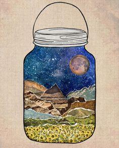 Star Jar - PAPER PRINT, terrarium jar, nature print, mason jar, mountain poster, night sky, moon stars, mixed media collage art