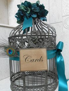 Wedding Card Holder / Birdcage Cardholder / Peacock Wedding.