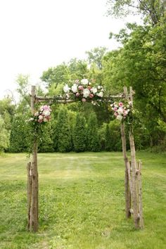 Outdoor Ceremony Backdrop Inspiration : Flowers and Branches