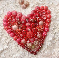 heart crafts, button art, red, button heart, valentine day, button craft, pink, buttons, vintage life