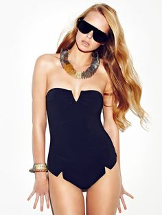 Trendy black swimsuit.
