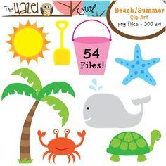 Beach / Summer Clip Art!  54 Graphics!!  $ graphic, free apple clipart, beach clipart, free clip art for teachers, free clipart for teachers, appl clip, classroom theme printables, classroom theme beach, summer clipart