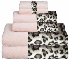 Snow Leopard & Soft Pink Bordering Africa Bath Towels  $11.00-$27.00 SALE $10.00-$24.00 baths, towel 11002700, bath towel, border africa, africa bath, leopards, snow leopard, sale, leopard bathroom