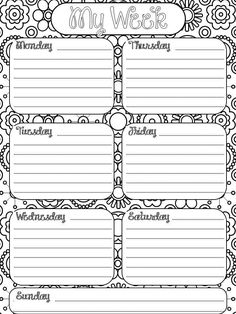 Colorable planner page