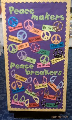 classroom idea, peace classroom, school, stuff, bulletin boards, peacemakers and peacebreakers, peac maker, educ, teach