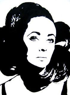 Elizabeth Taylor Acrylic Painting  www.hopelugo.etsy.com