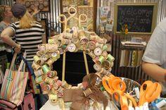 wooden spool wreath