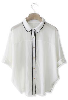 Contrast Batwing Crepe Shirt