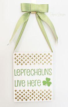 Leprechauns Live Here Sign with Mod Podge Rocks Stencil - FYNES DESIGNS