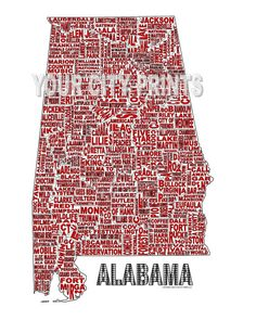 State of Alabama Word Map Art by whatsyour20 on Etsy, $25.00