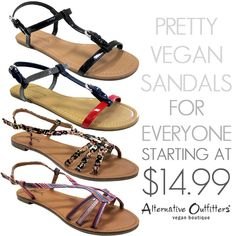 These pretty Summer vegan sandals are pretty to dress up or dress down. Check out our huge selection of vegan sandals! #vegan #vegansandals #veganshoes #alternativeoutfitters #iloveAO #vegansummer