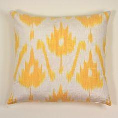 Yellow Ikat Silk Pillow