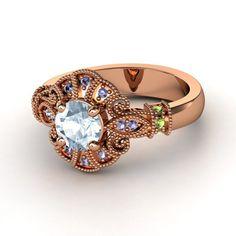 Round Red Garnet 14K Rose Gold Ring with Aquamarine, Green Tourmaline, and Iolite.