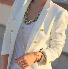 bracelet, accessori, chain, outfit, necklac, blazers, closet, white gold, gold accents