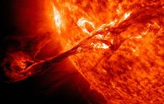A long filament erupted on the sun on Aug. 31, 2012. The filament of solar material had been hovering in the sun's atmosphere, or corona, and erupted into space, creating a coronal mass ejection, or CME.The flare traveled at an astonishing 900 miles per second, and connected with Earth's magnetic environment, causing aurora to appear on the night of Sept. 3.