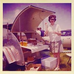 teardrop campers, young women camp, vintage photos, c1960s christian, vintag teardrop, travel trailers, camping trailers, teardrop trailer, picnic