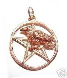 2375 Rose Gold Plated Celtic Crow Raven Charm Pentagram