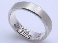 finger print wedding band, grooms ring, ring fingerprint, ring engraving ideas, sterling silver, fingerprints, wedding rings, big, bride and groom rings