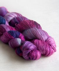 Sweatermaker Yarns Maggie light fingering weight yarn   70% mulberry silk 30% cashmere 50g/230m each skein   Hand painted in shades of violet, fuschia, blue