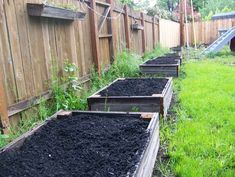 Raised garden beds from reclaimed wood.