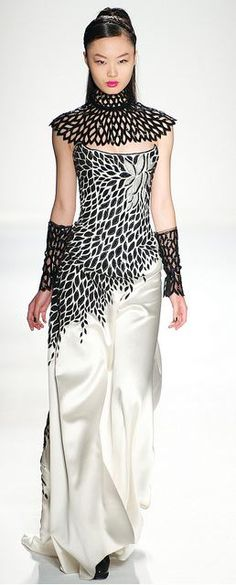 Joanna Mastroianni Fall 2012 - stunning with or without the accessories. This collection's muse was Iris Apfel - a fashion icon, a fixture in the front row at the age of 90, and whose personal wardrobe was already the subject of a Costume Institute exhibit at the Met.